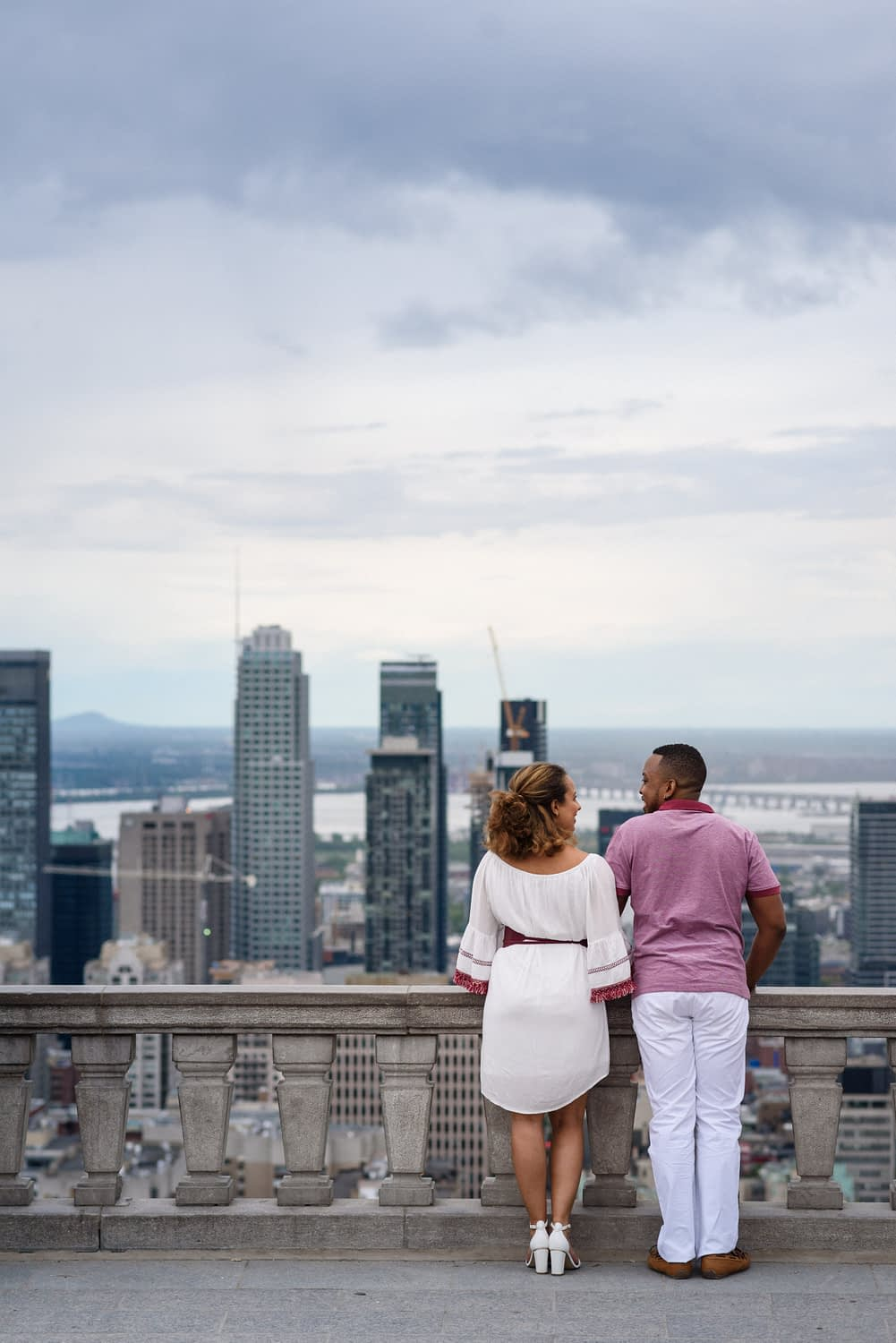 Engagement photo at Mount Royal lookout