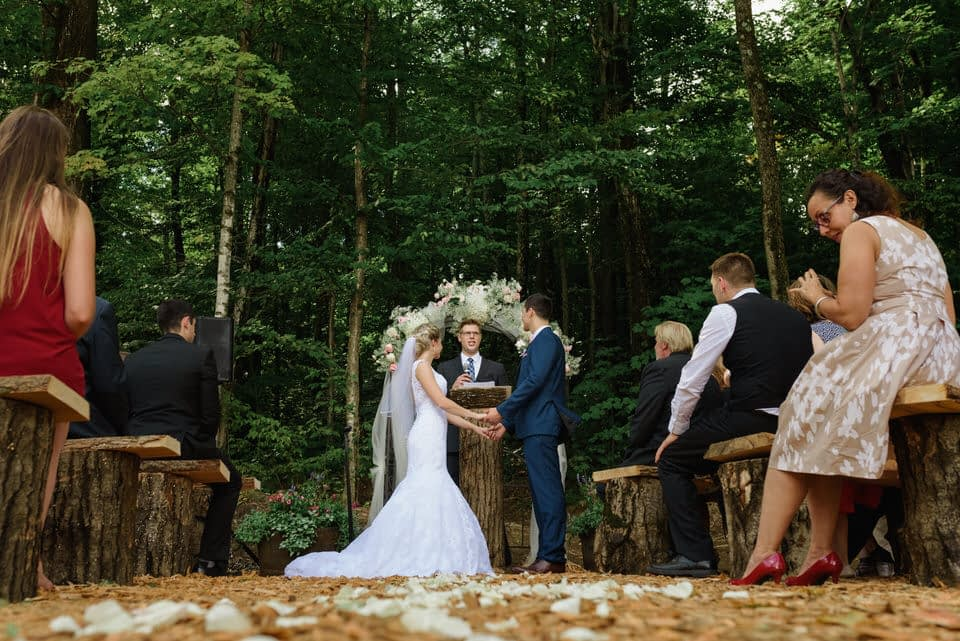 Outdoor rustic wedding ceremony in Eastern Townships