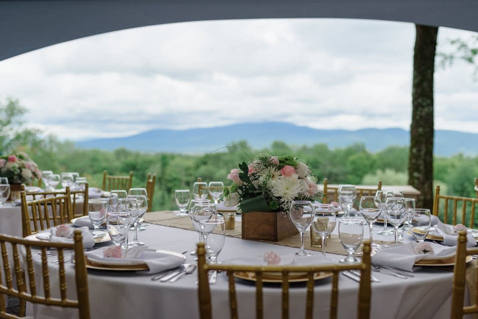 Table setting with a mountain top view of the Eastern Townships