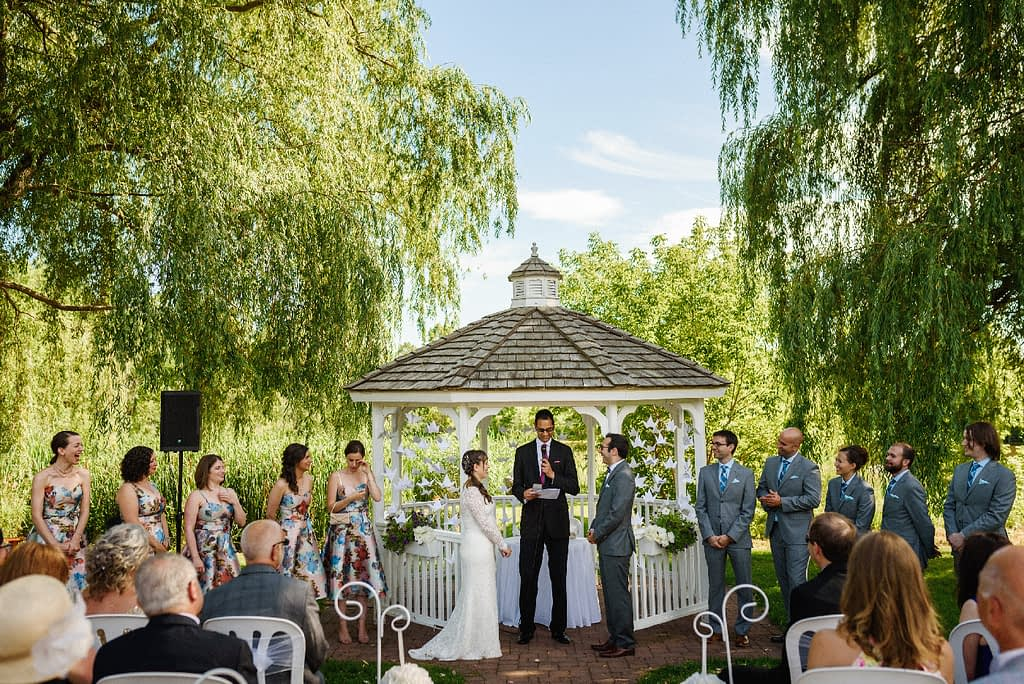 Wedding ceremony outdoors at Auberge des Gallant