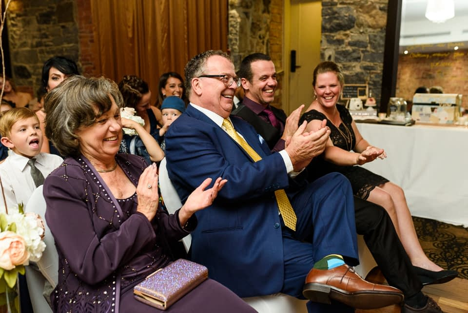 Bride's family applauding