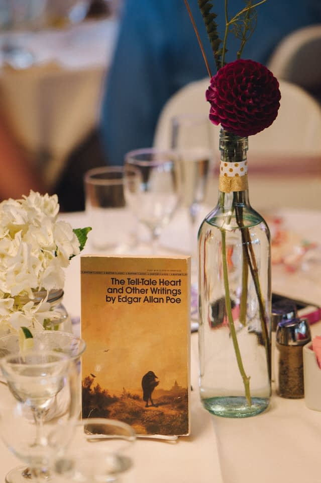 Book-themed table at wedding