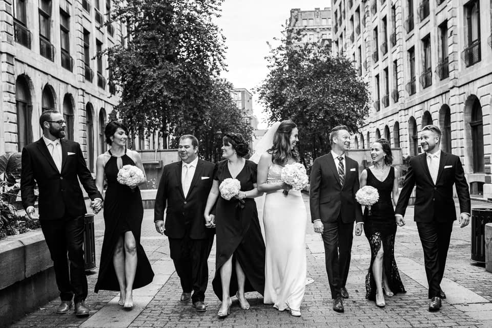 Wedding party group photo in Le Royer Cours