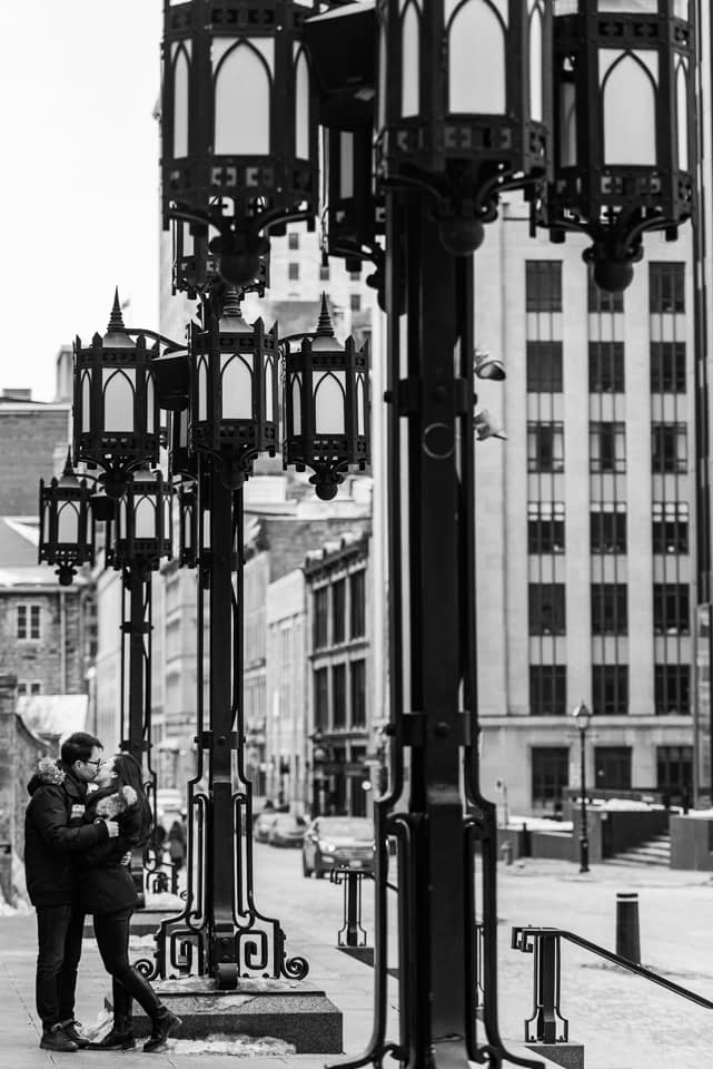 Black and white photo with street lamps in Old Montreal