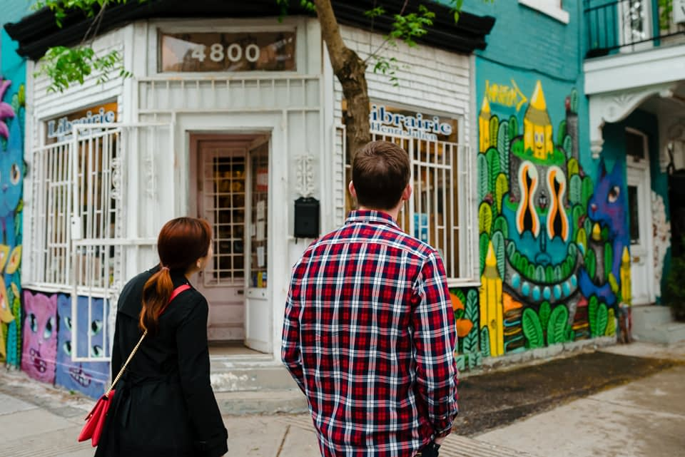 Mile-end engagement photos with graffiti
