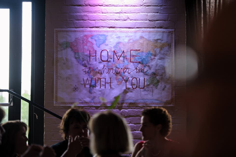 """Map with words """"Home is wherever I'm with with"""" written on it"""