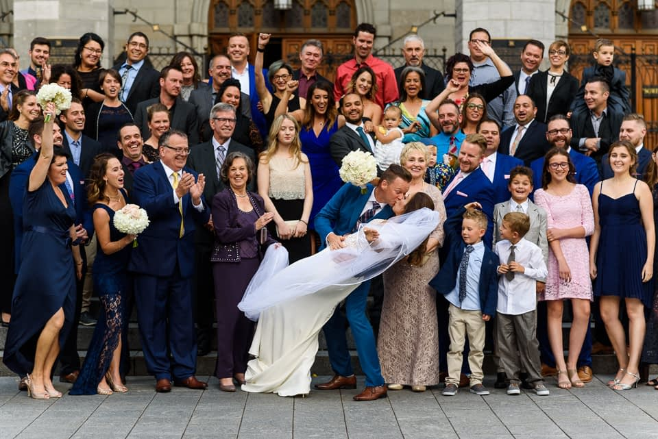 Wedding photo in front of Notre-Dame Basilica in Montreal