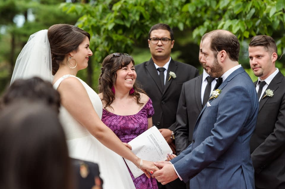 Sister officiating at La Toundra garden wedding