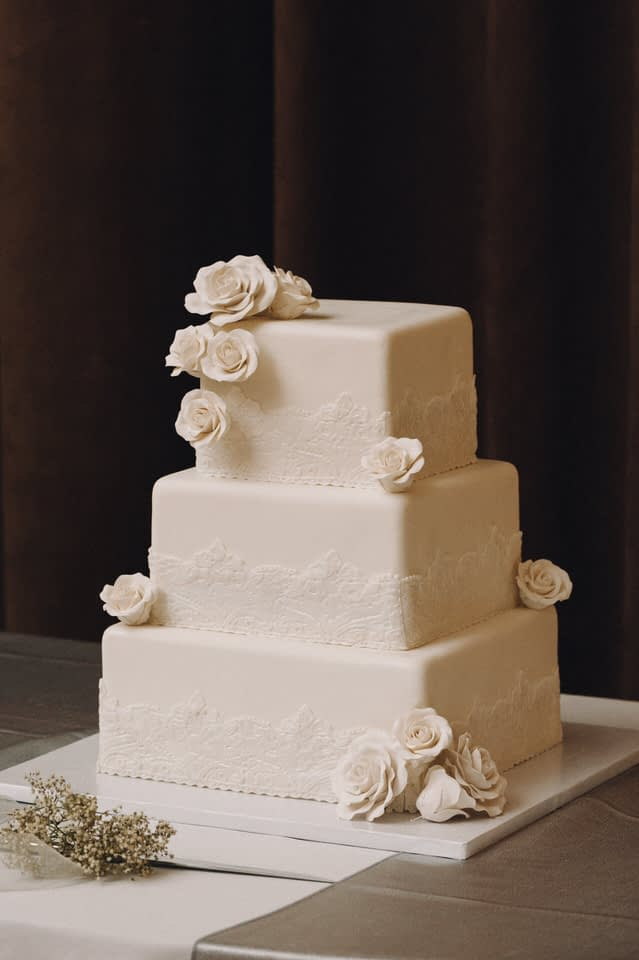 White square shaped wedding cake tower