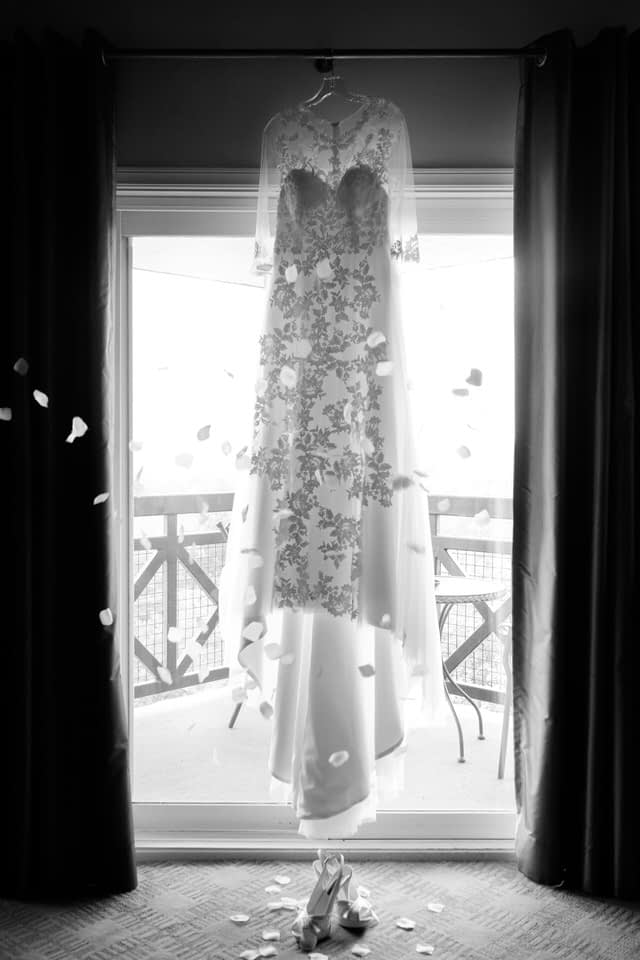 Black and white photo of wedding dress