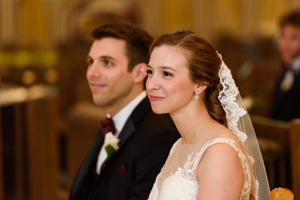 Bride listening to homily