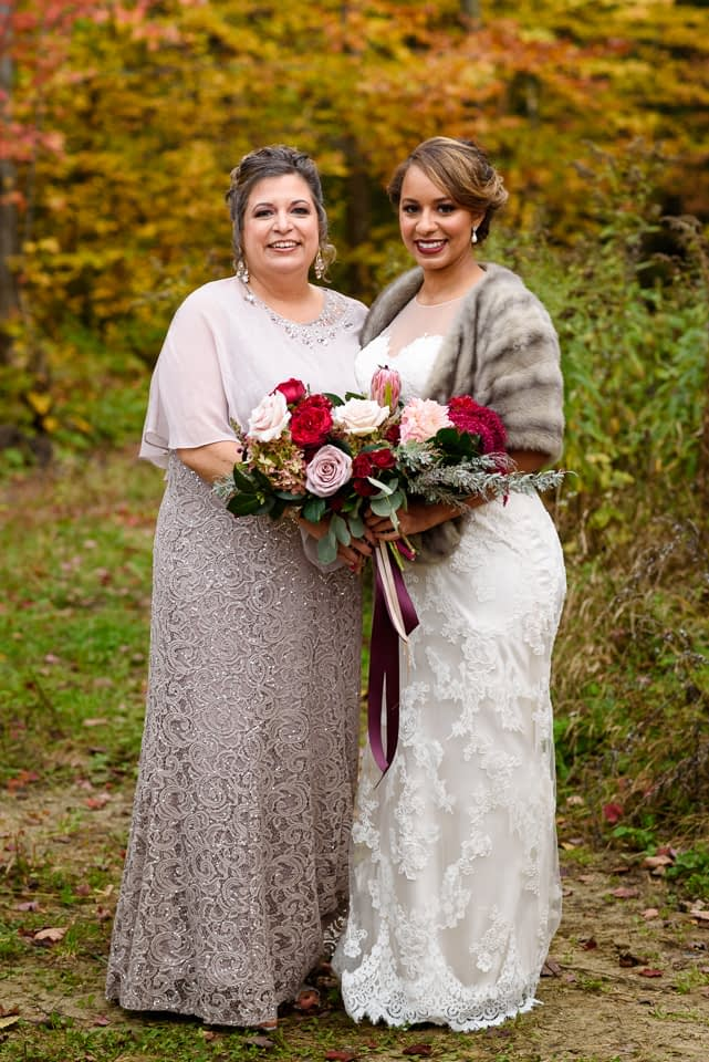 Family portrait of bride and her mother
