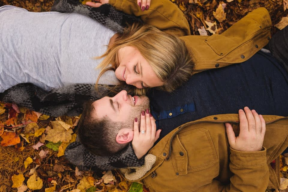 Engagement photo in fall leaves