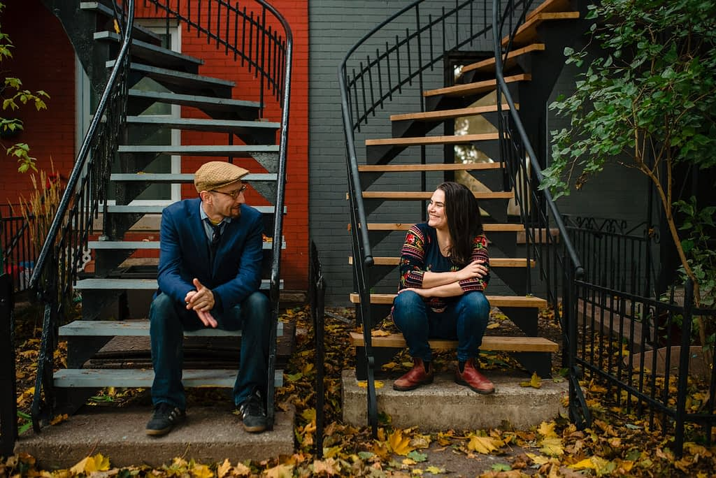 Casual couple photo on stairs in Plateau Mont-Royal