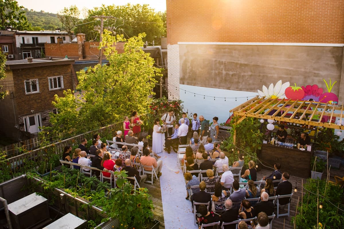 Intimate rooftop wedding on terrace of Santropol Roulant