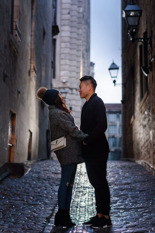 Winter couple's photoshoot in an alleyway in Old Montreal