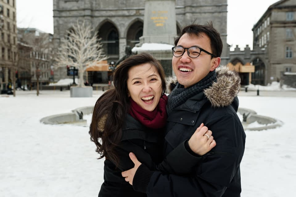 Just engaged photos after surprise proposal in Montreal
