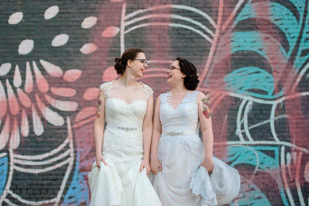 Lesbian wedding photo in downtown Montreal