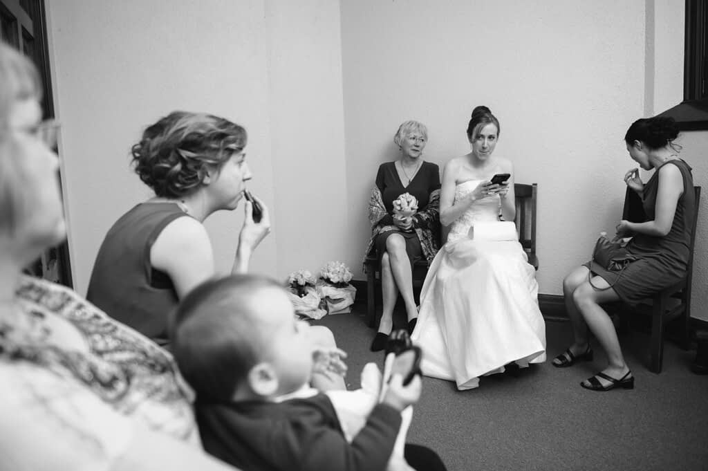 Bride and her family waiting before ceremony