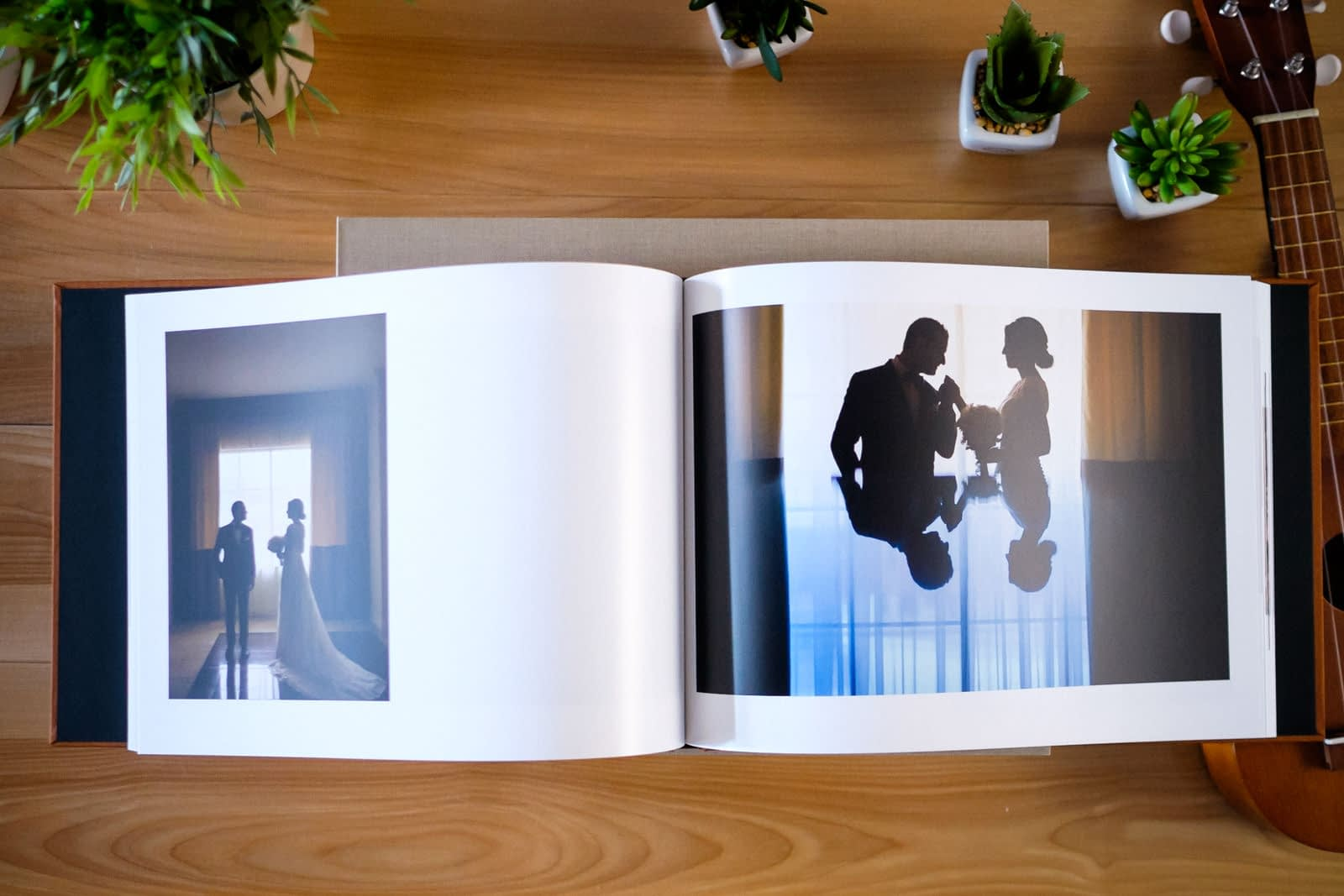 Wide view of landscape wedding book with thin pages