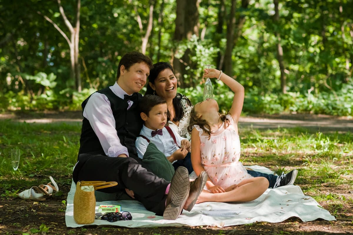 Family sitting on blanket at pandemic wedding in a park