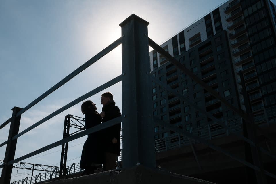 Silhouette of couple in urban environment