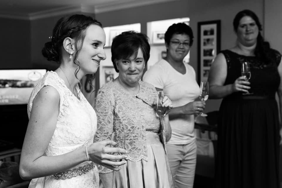 Toast to the bride after everyone is ready in the morning
