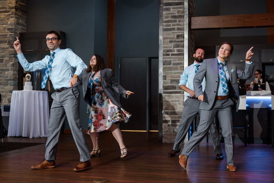 Bridal party performing A Millions Ways to be Cruel dance by OK GO