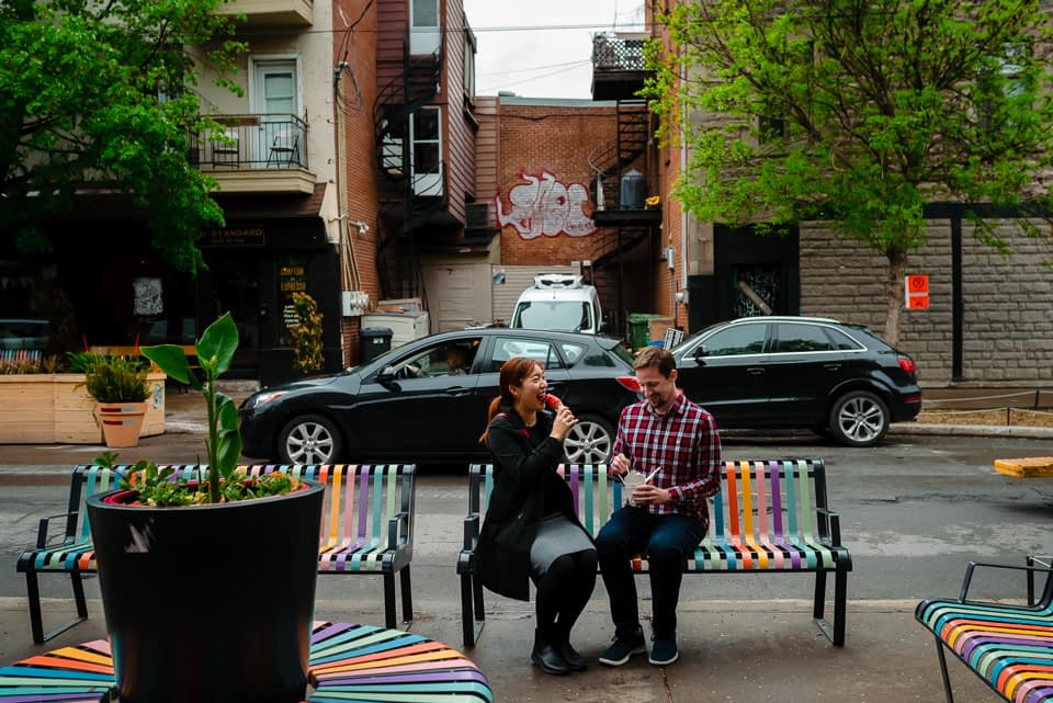 Couple vacation photoshoot at ice cream place in Montreal