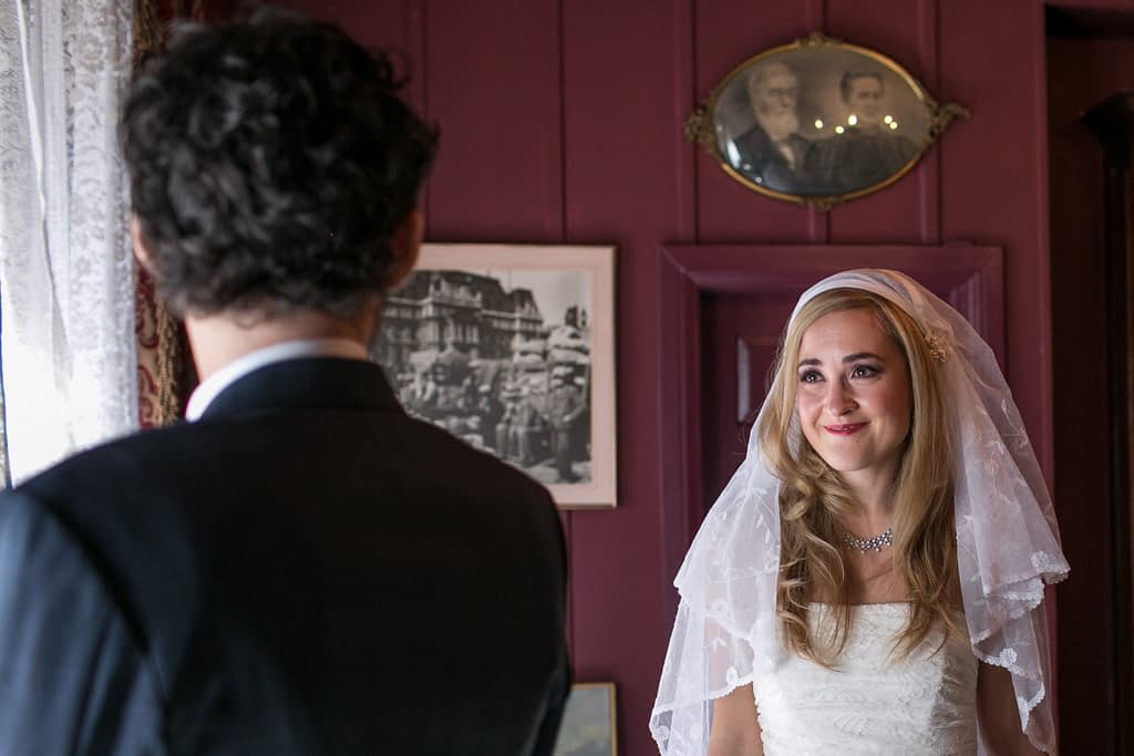 Bride seeing the groom for first time on wedding day