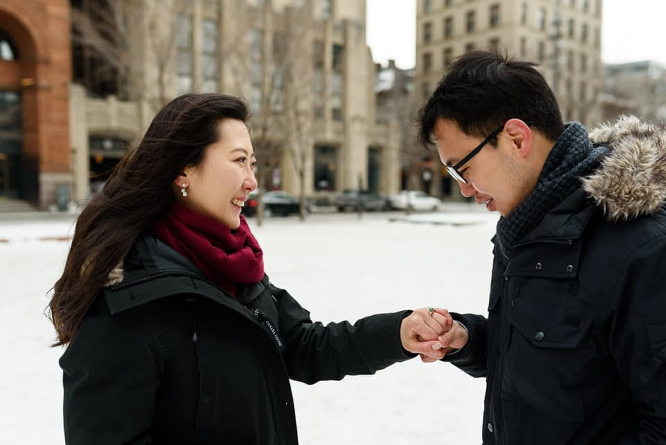 Just engaged photos after surprise proposal in Montreal 04