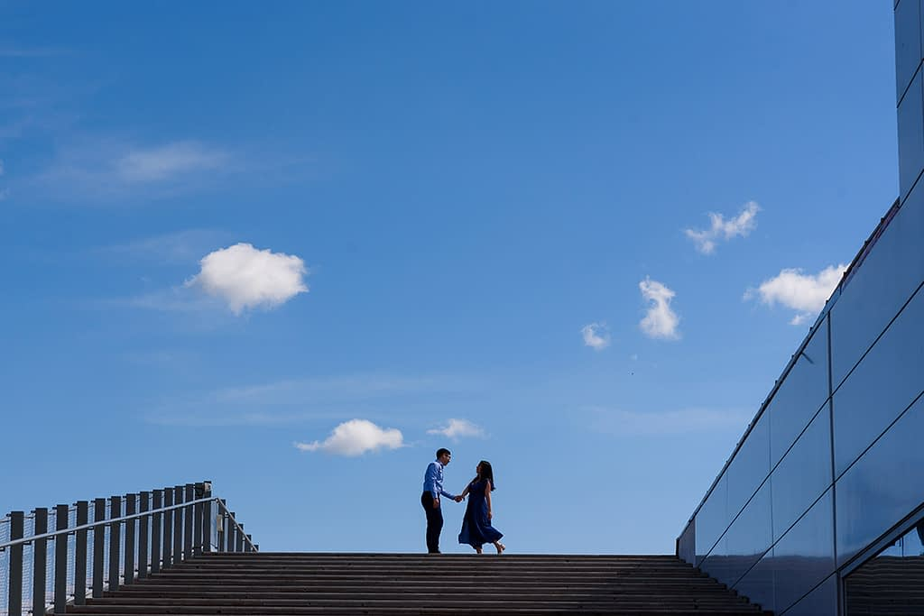 Engagement photo at Old Port, Montreal