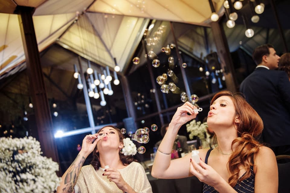 Guests blowing bubbles at La Toundra wedding
