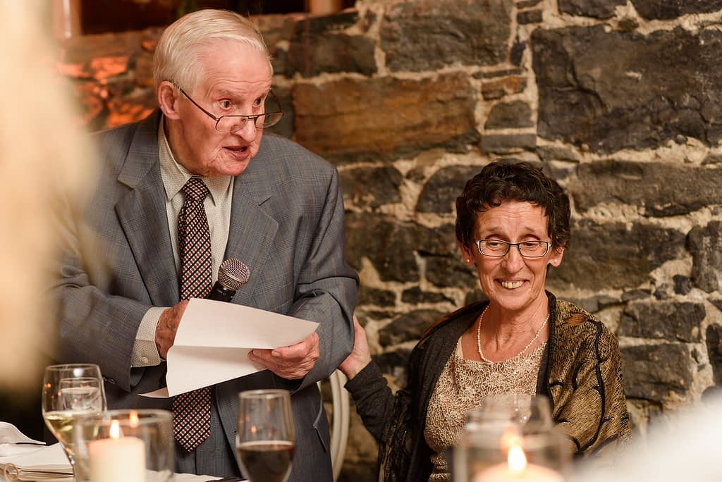 Bride's grandfather sharing a few words