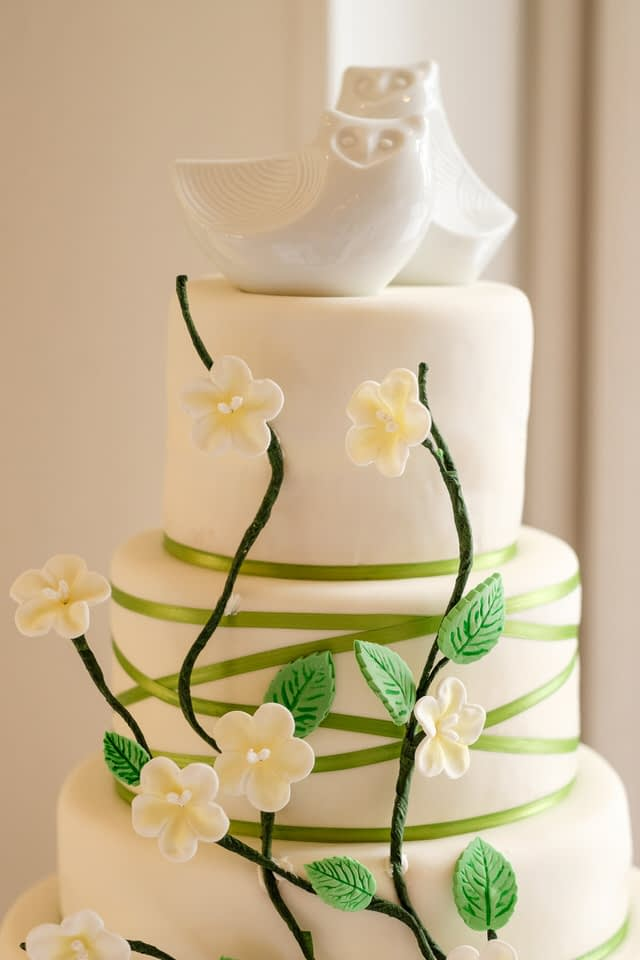 Wedding cake with two owls on top