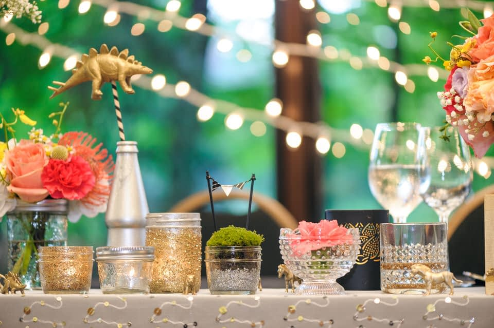 Tiny houseplants and other homemade decor at La Toundra wedding venue