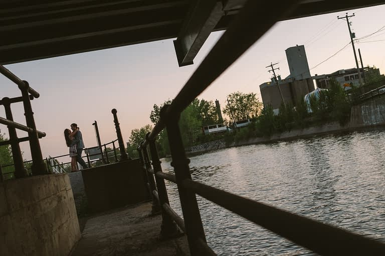 Montreal engagement photos in Griffintown