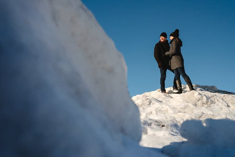 Winter engagement photos in Old Montreal, Quebec