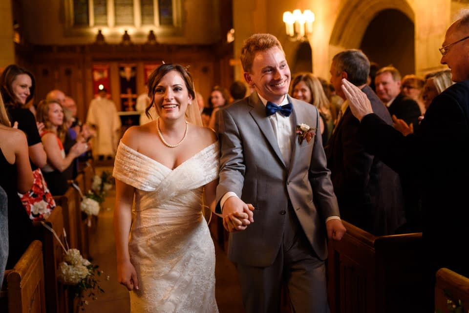Wedding couple after ceremony at Birks Chapel in downtown Montreal