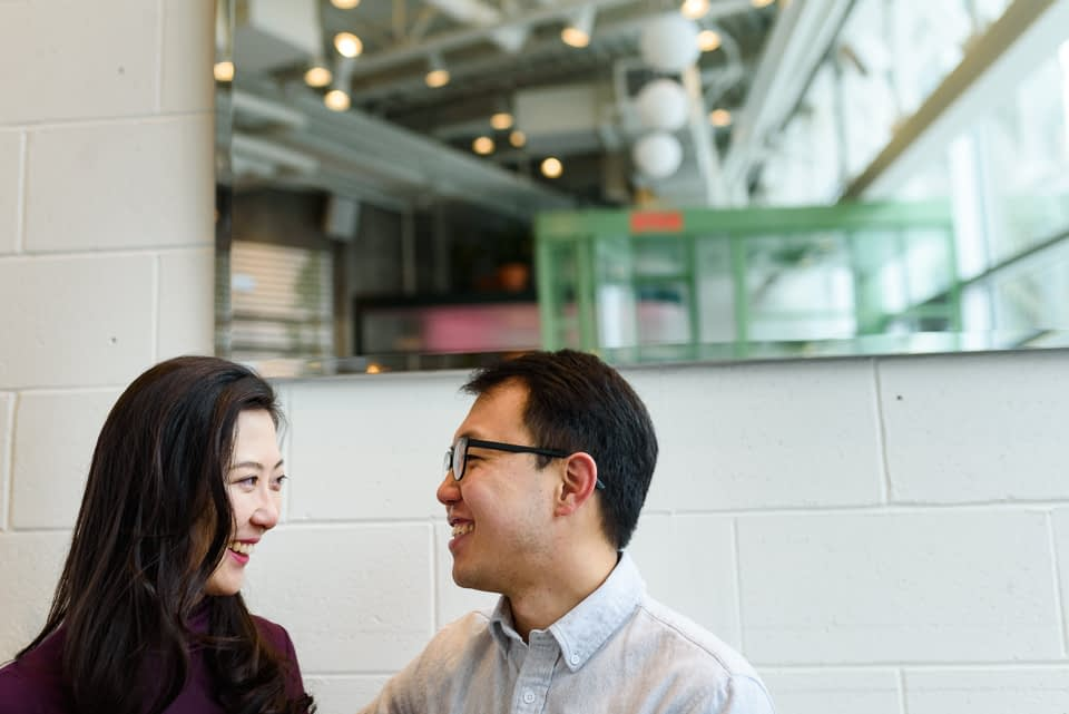 Coffeeshop engagement photos at Melk Cafe in Old Montreal