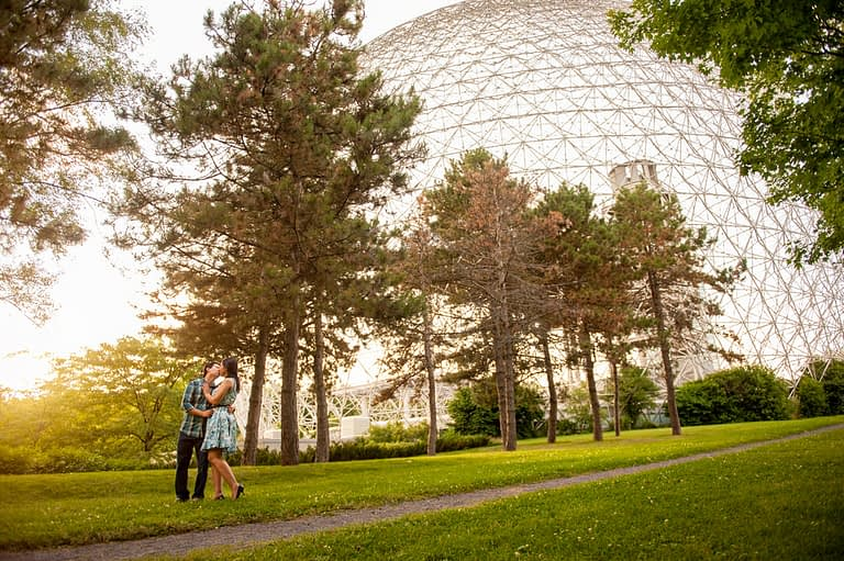 Montreal engagement photos at Jean-Drapeau park