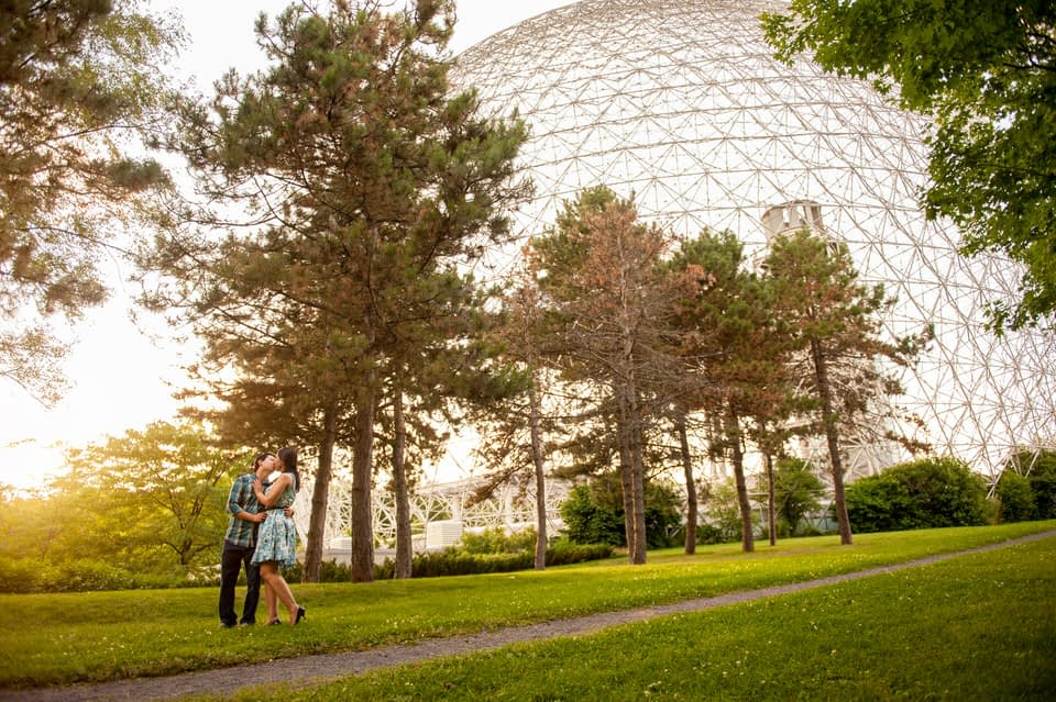 Engagement photo with the Montreal Biosphere in the background