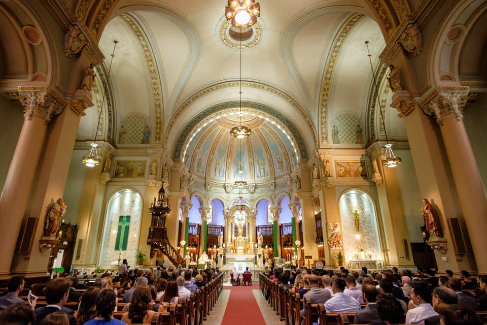 Wedding ceremony at Saint-Anges church in Lachine