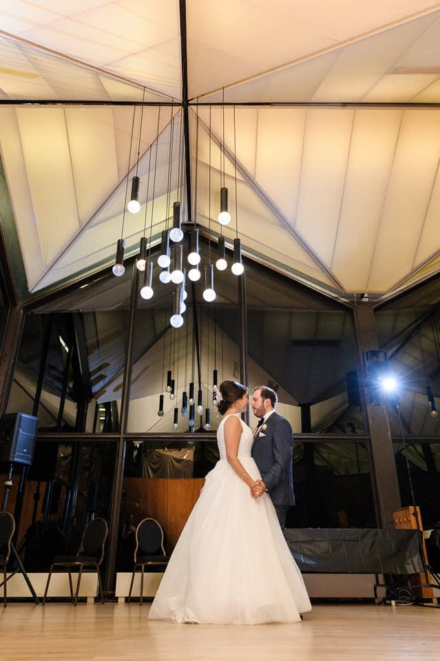 Beautiful first dance under lights at La Toundra wedding