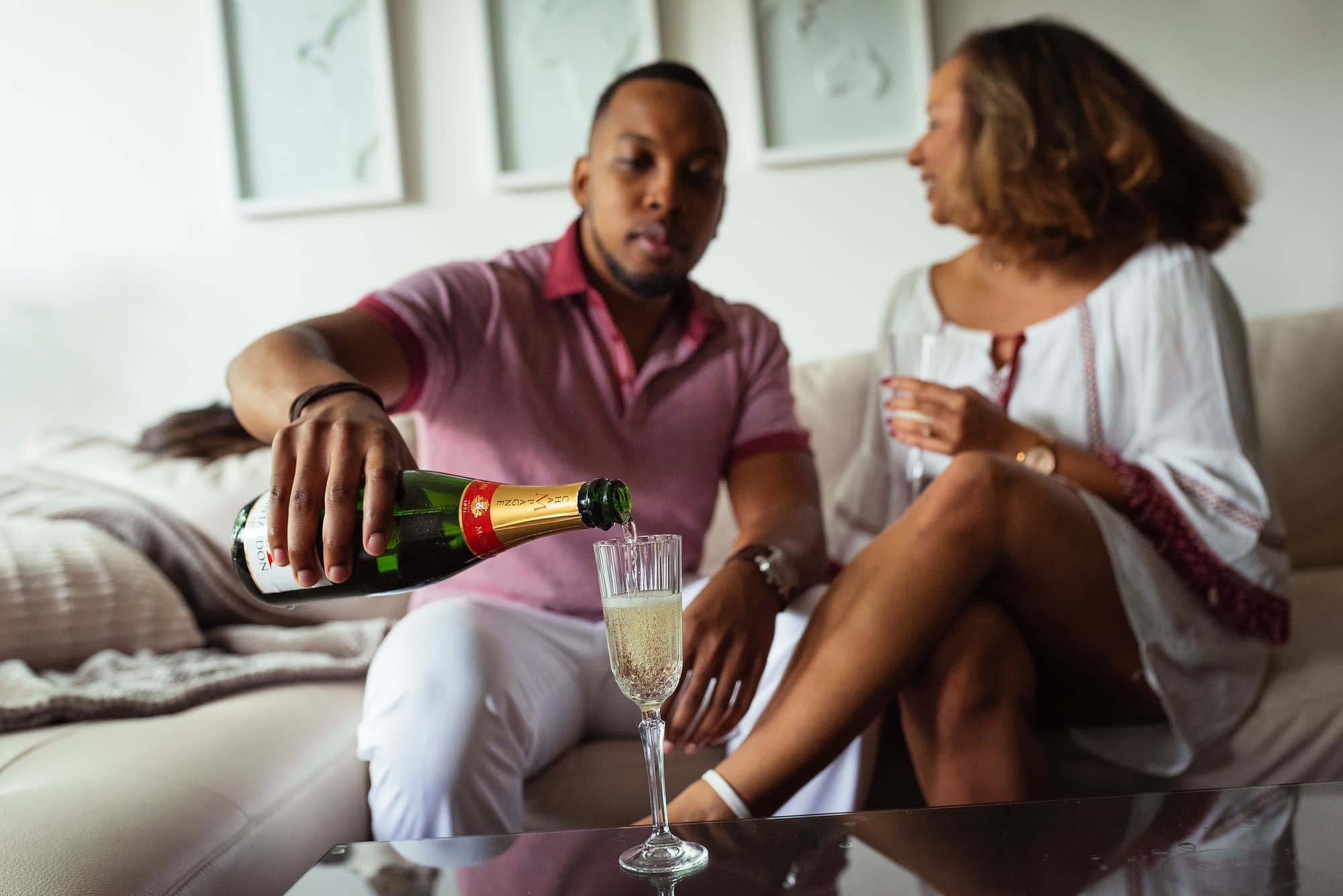 Champagne engagement photos at home