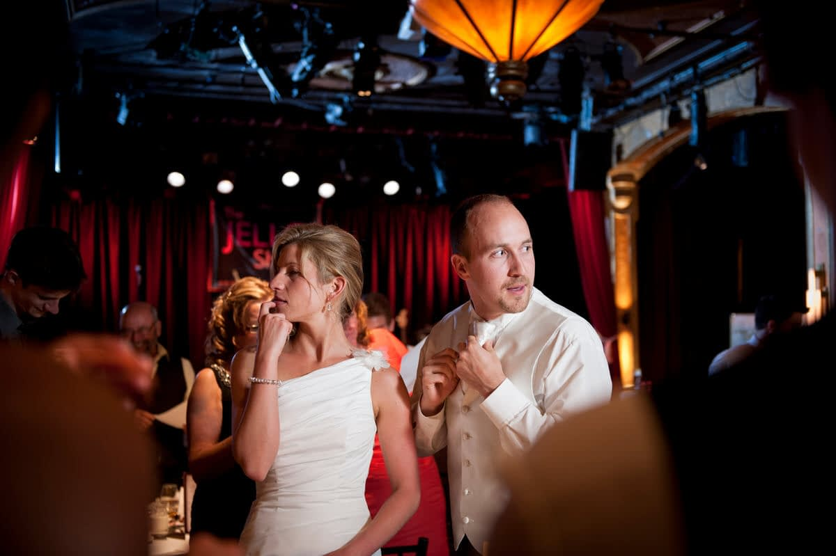 Wedding couple at reception at Cabaret Lion d'Or