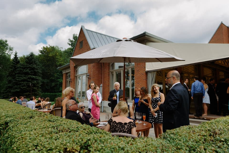 Wedding cocktail hour at Manoir Rouville-Campbell