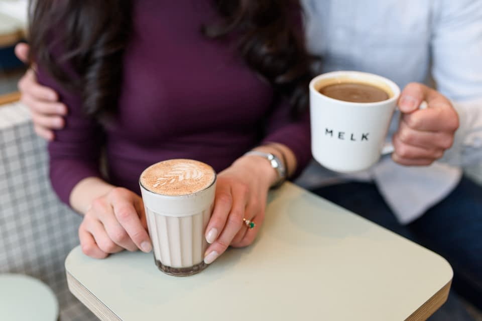Engagement photos at Melk Cafe in Old Montreal 12
