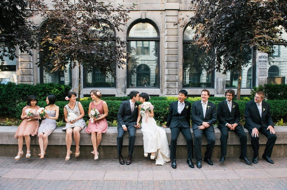 Wedding party photo in Old Montreal