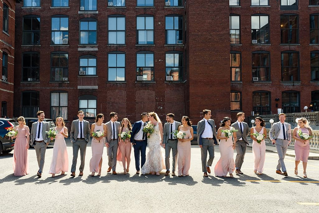 Wedding photo of bridal party at Ambroisie building, Montreal